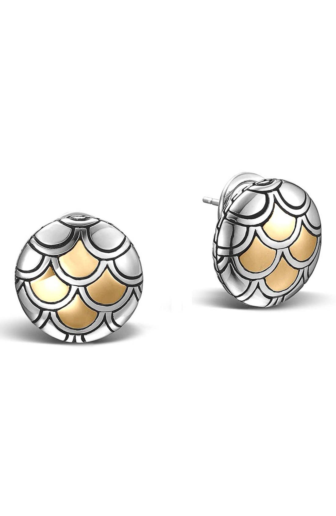 'Legends' Scale Stud Earrings,                             Main thumbnail 1, color,                             Silver/ Gold