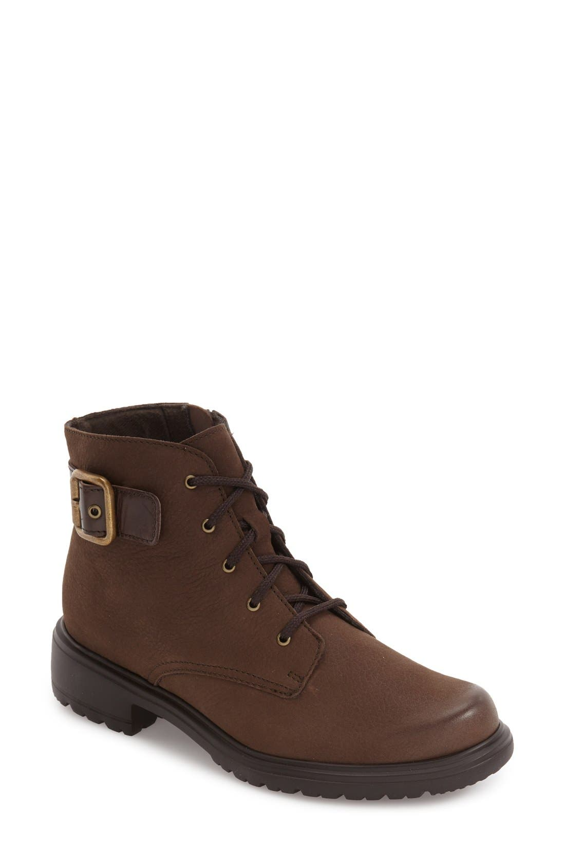 Bradley Water Resistant Boot,                             Main thumbnail 1, color,                             Brown Tumbled Nubuck Leather