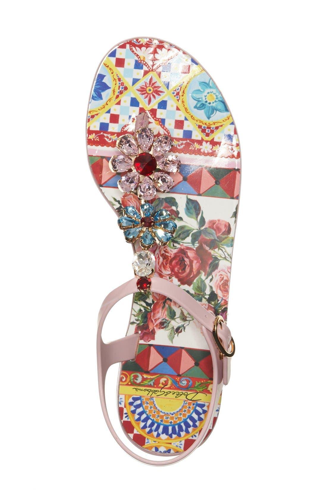 Alternate Image 3  - Dolce&Gabbana Carretto Embellished Jelly Sandal (Women)
