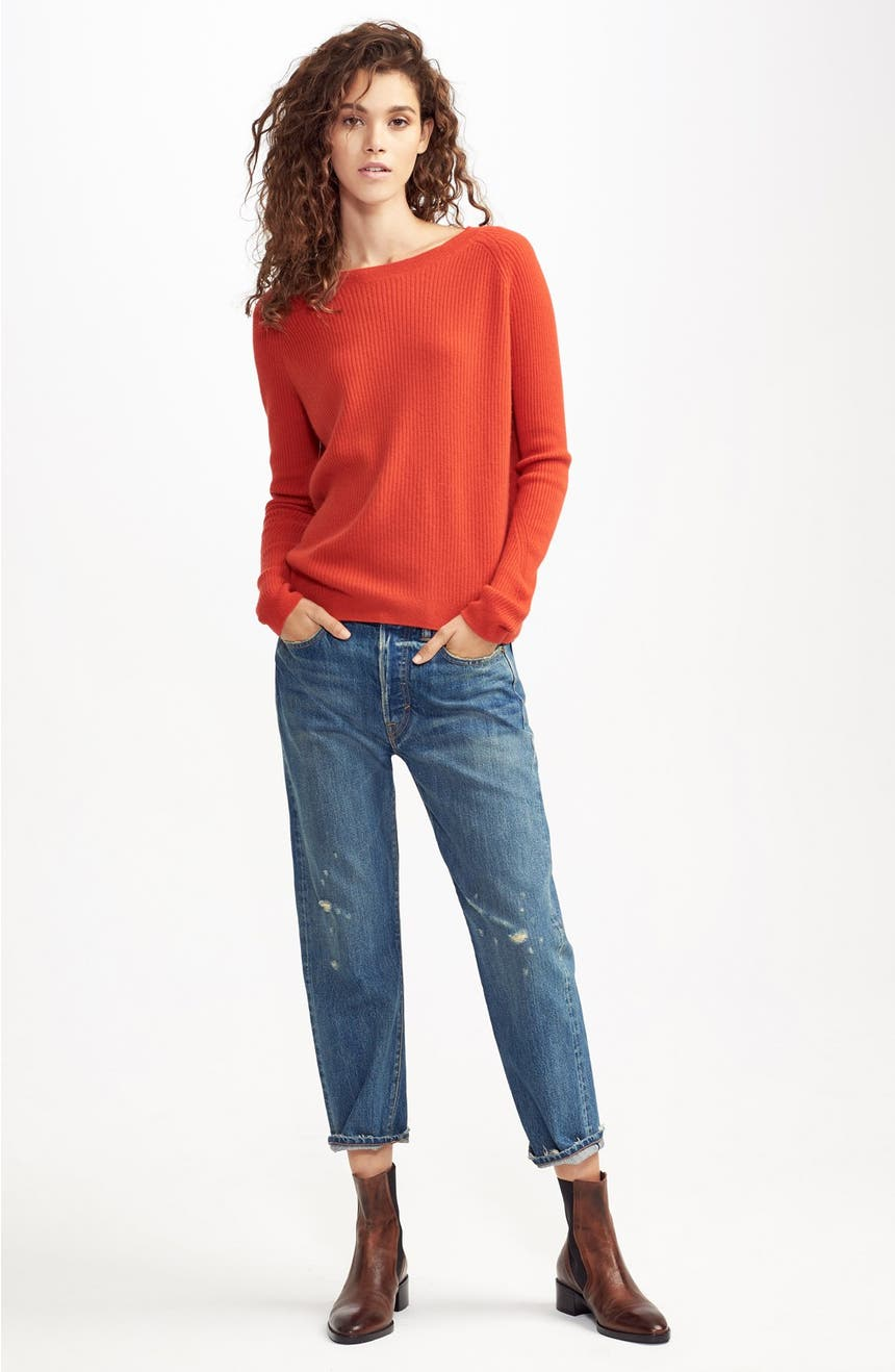 Vince Rib Knit Raglan Sleeve Cashmere Sweater | Nordstrom