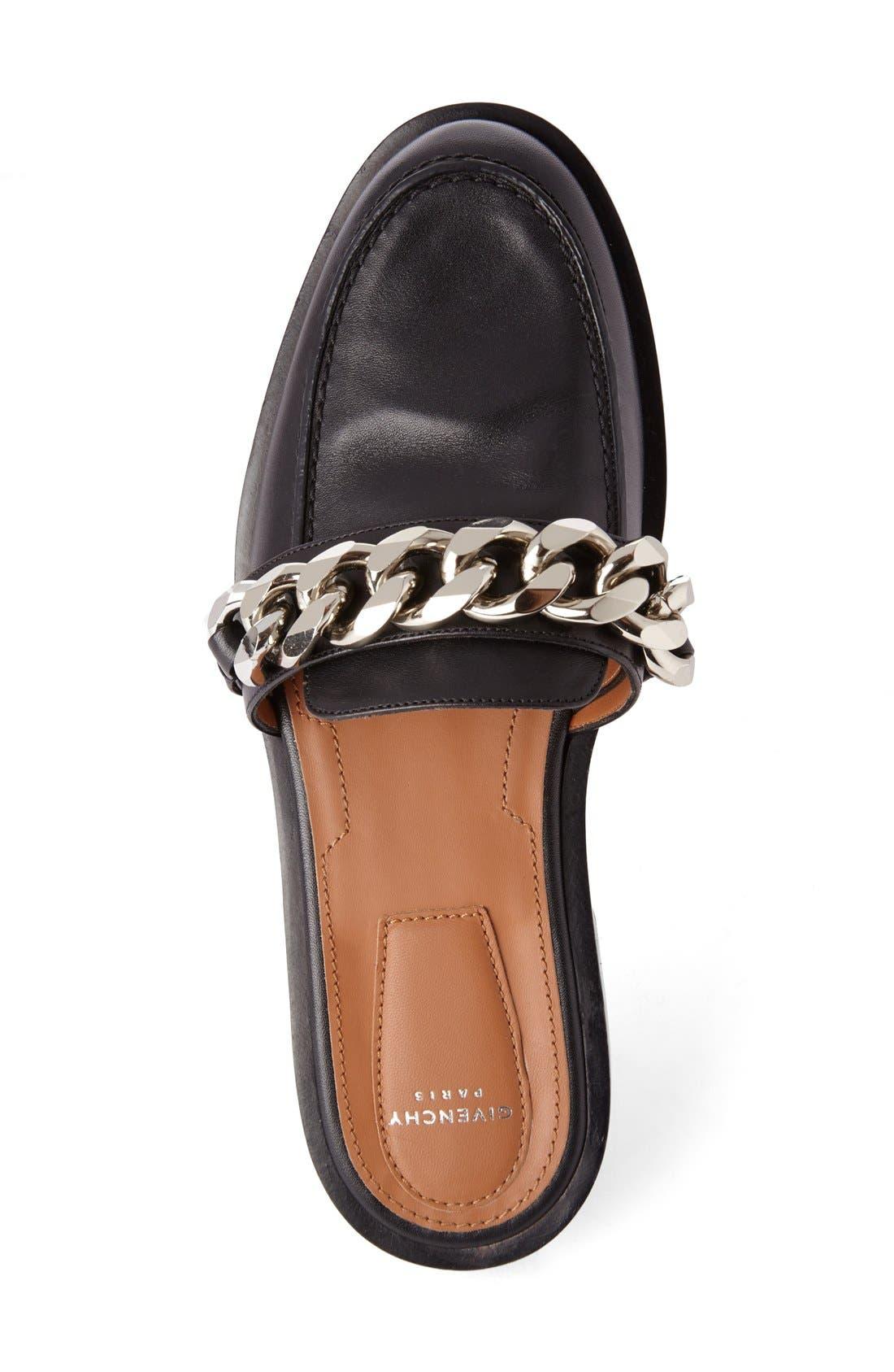 Chain Strap Loafer Mule,                             Alternate thumbnail 3, color,                             Black