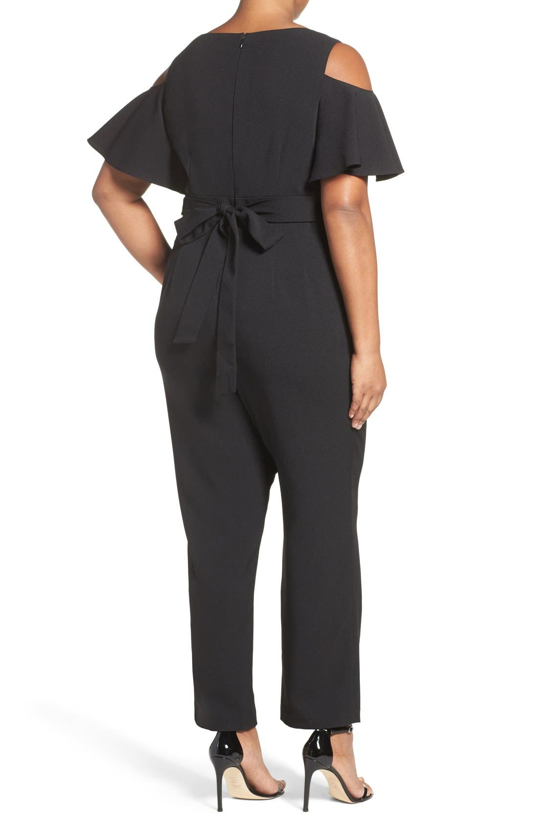 Embellished Cold Shoulder Jumpsuit,                             Alternate thumbnail 2, color,                             Black