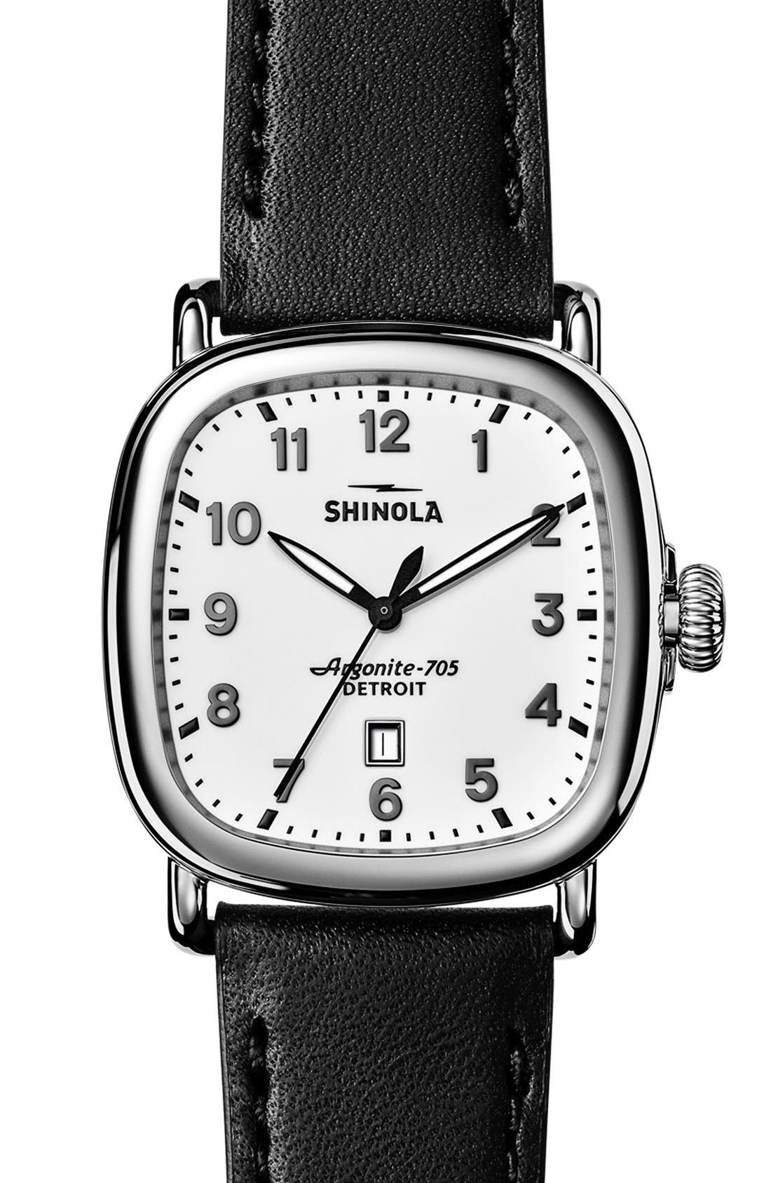 Guardian Leather Strap Watch, 41mm,                         Main,                         color, Black/ White