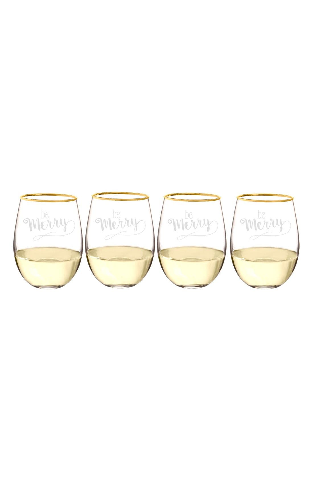 Be Merry Set of 4 Stemless Wine Glasses,                             Alternate thumbnail 3, color,                             Gold
