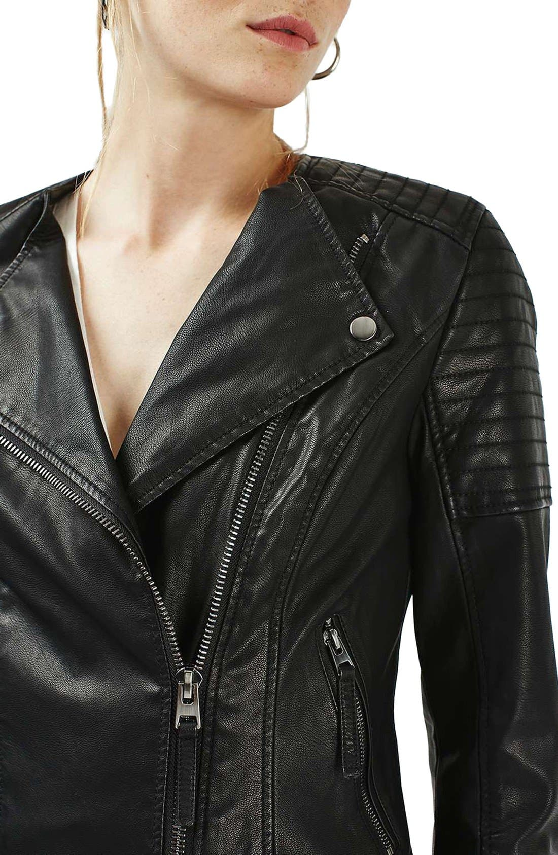 Alternate Image 4  - Topshop Nelly Faux Leather Biker Jacket