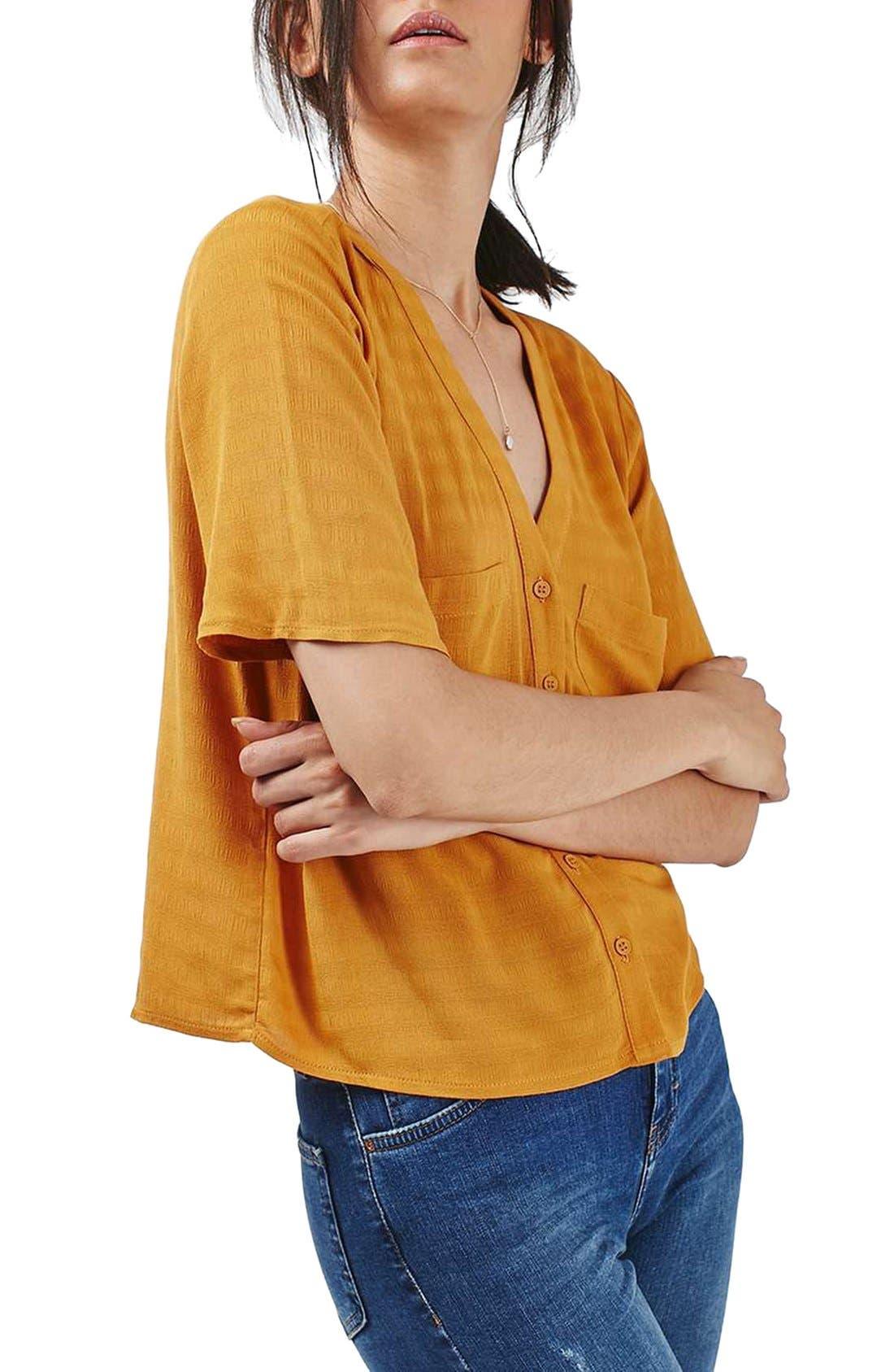 Alternate Image 4  - Topshop 'Holly' Short Sleeve V-Neck Shirt