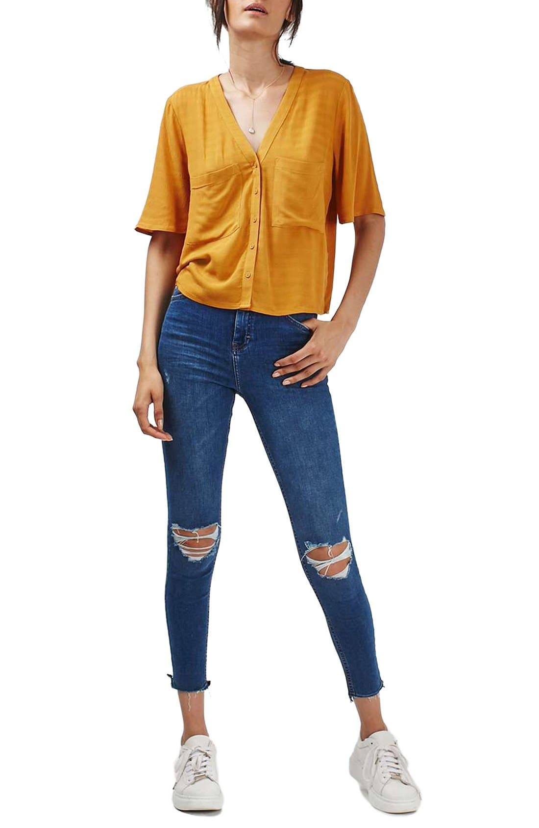 Alternate Image 2  - Topshop 'Holly' Short Sleeve V-Neck Shirt