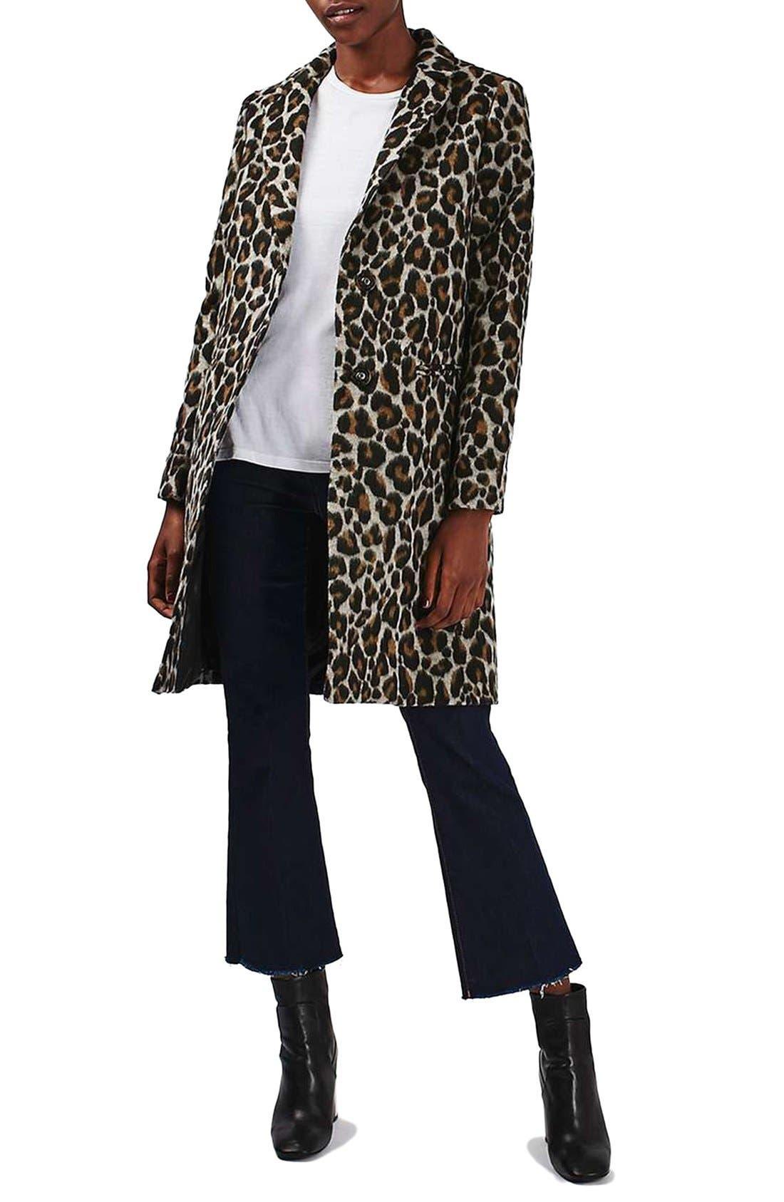 Alternate Image 2  - Topshop Leopard Print Car Coat
