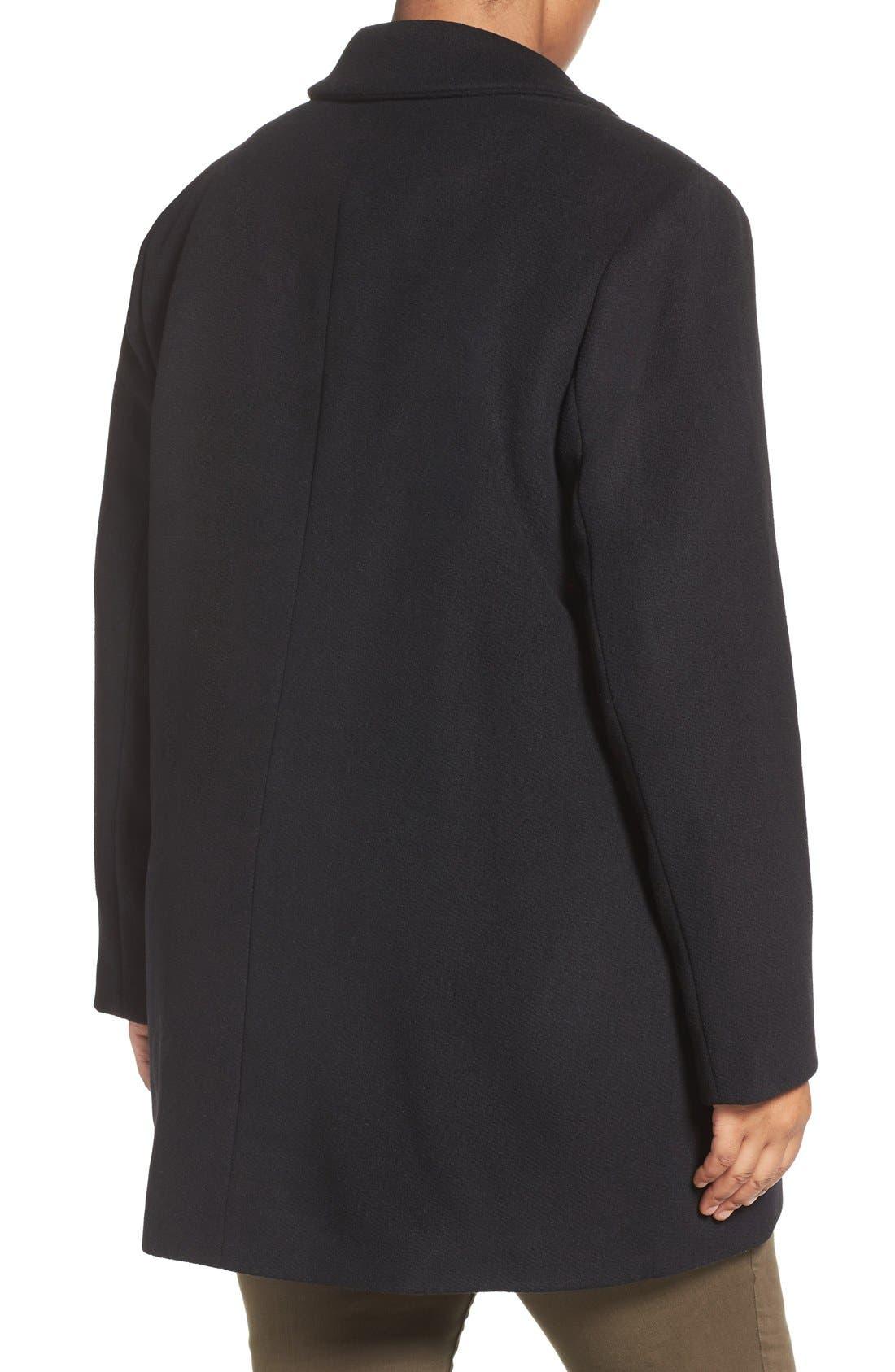 Alternate Image 2  - Calvin Klein Lux Basketweave Flyaway Coat (Plus Size)