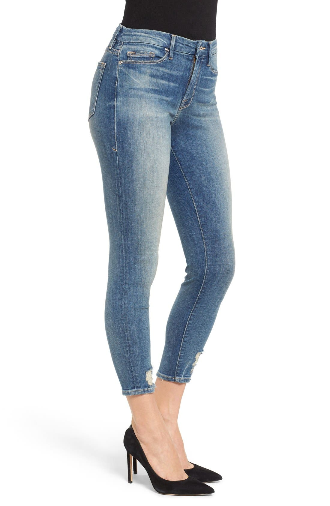 Good Legs High Rise Crop Skinny Jeans,                             Alternate thumbnail 3, color,                             Blue 010