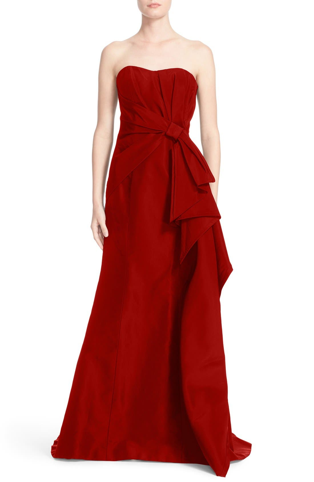 Carolina Herrera Bow Detail Strapless Silk Faille Gown