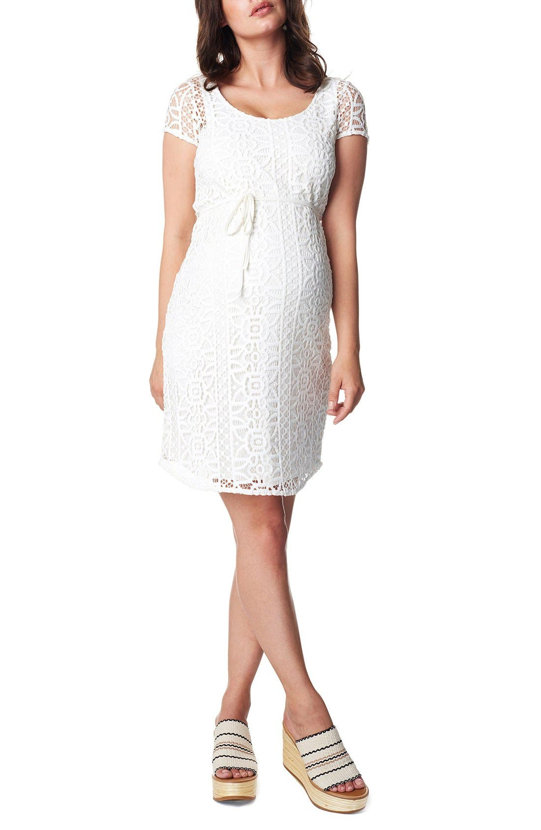 Elise Woven Lace Maternity Dress,                             Main thumbnail 1, color,                             Off White