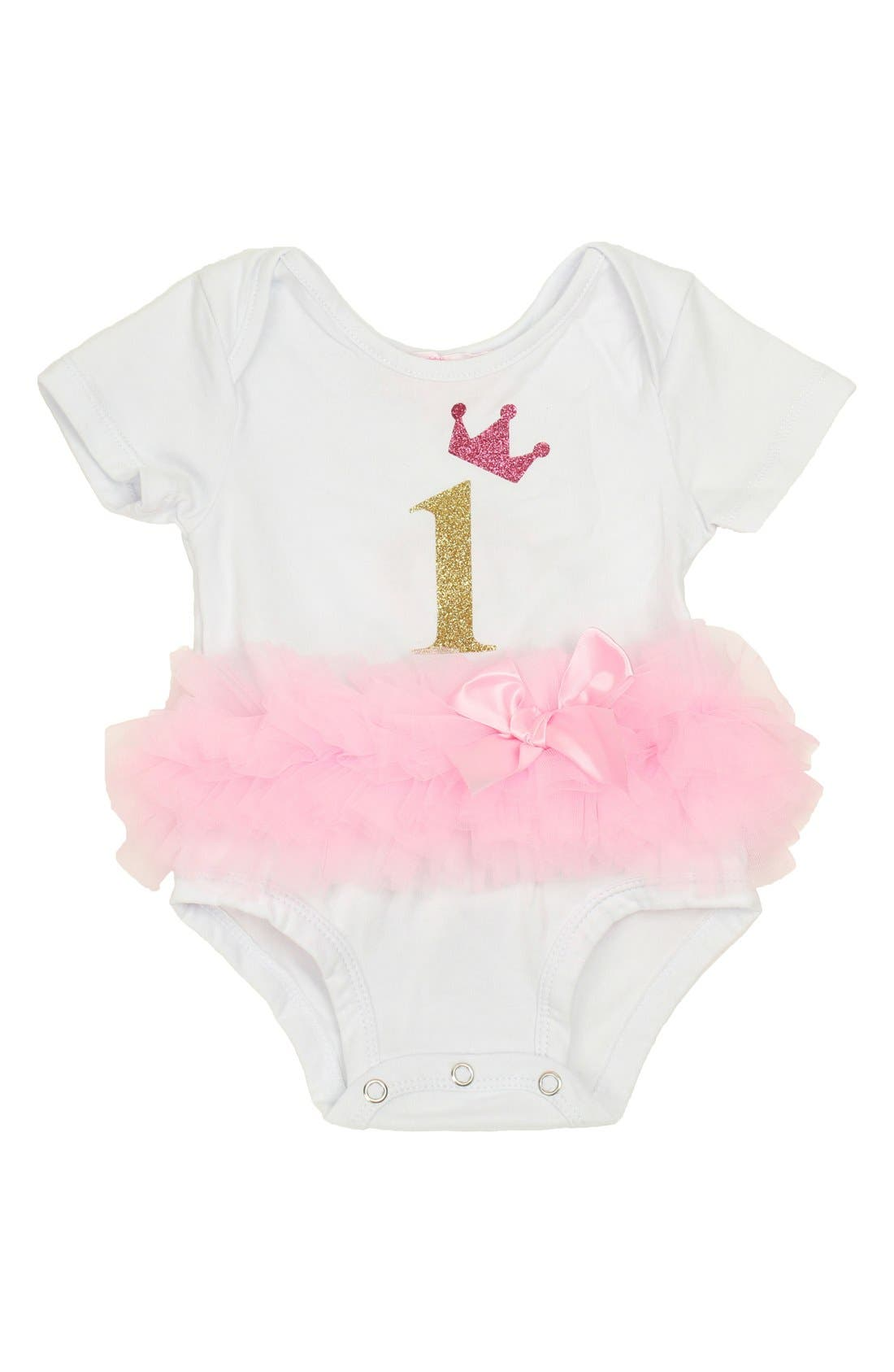 Birthday Tutu Bodysuit,                         Main,                         color, Pink