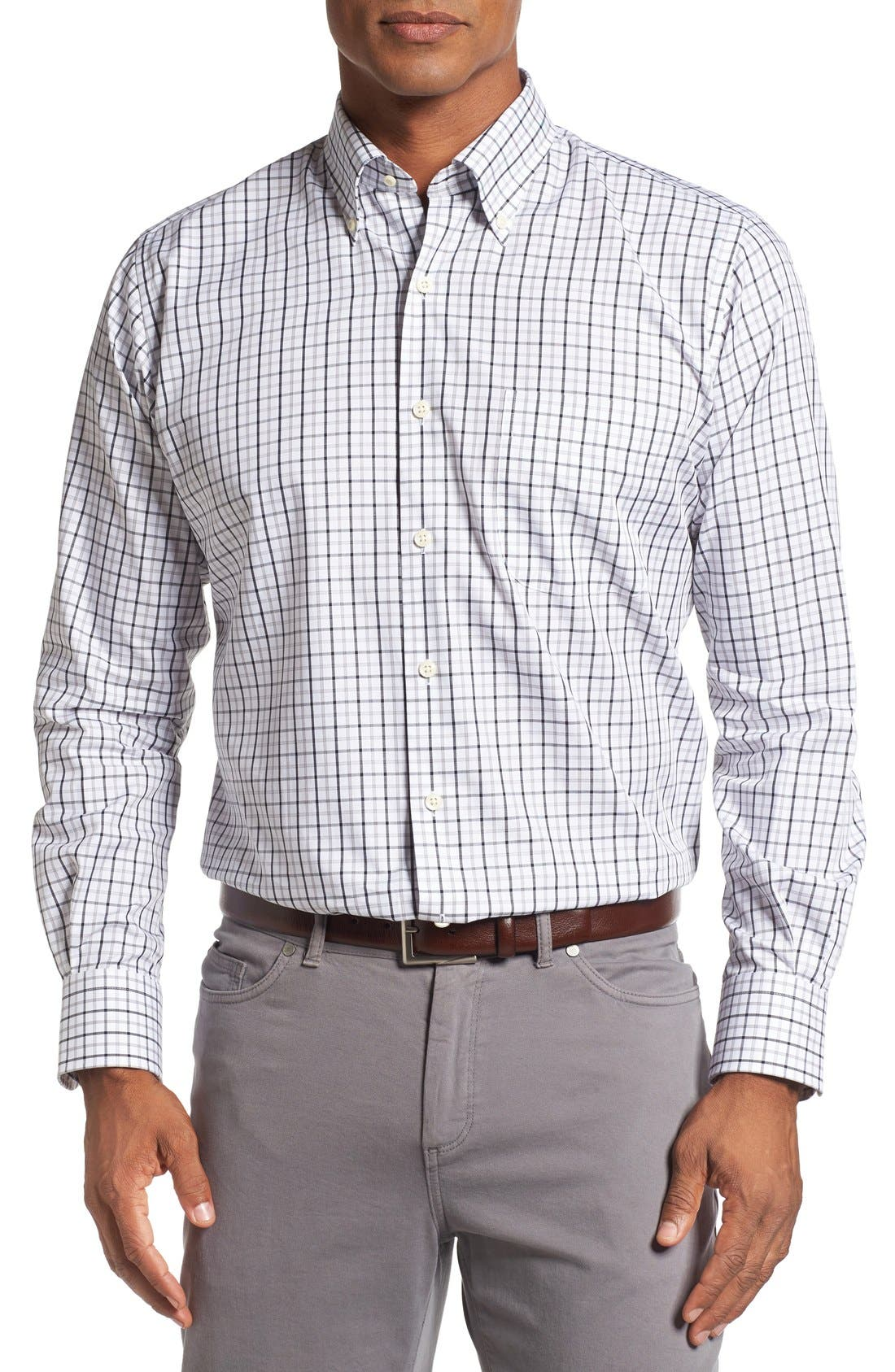 Main Image - Peter Millar Regular Fit Tattersall Plaid Sport Shirt