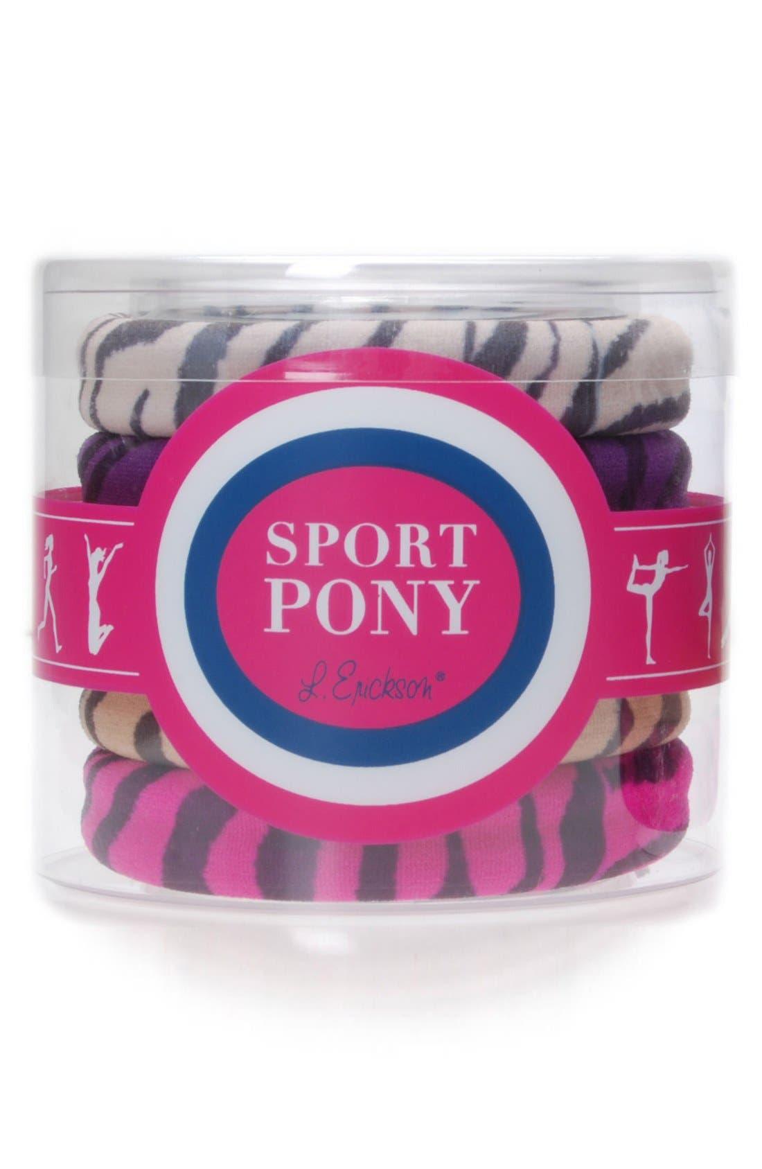 Set of 5 Sport Ponytail Holders,                             Main thumbnail 1, color,                             Zebra