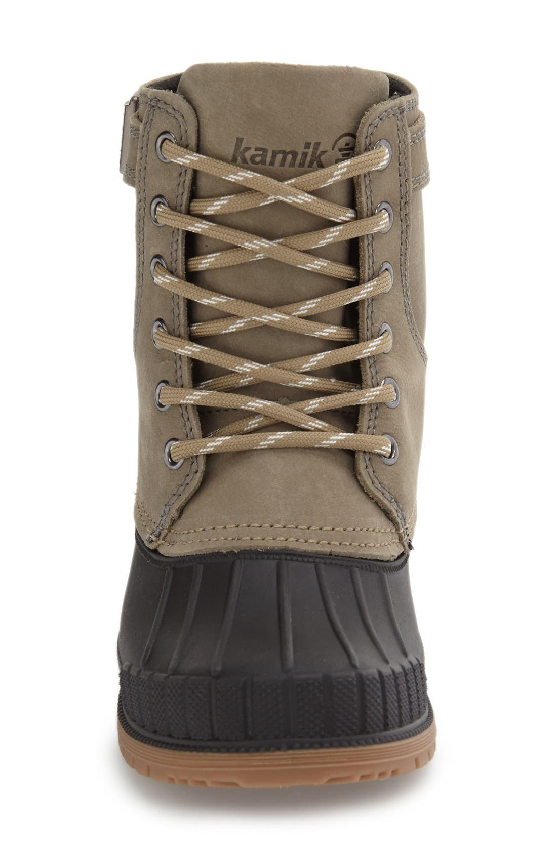 Evelyn Waterproof Boot,                             Alternate thumbnail 3, color,                             Taupe Leather