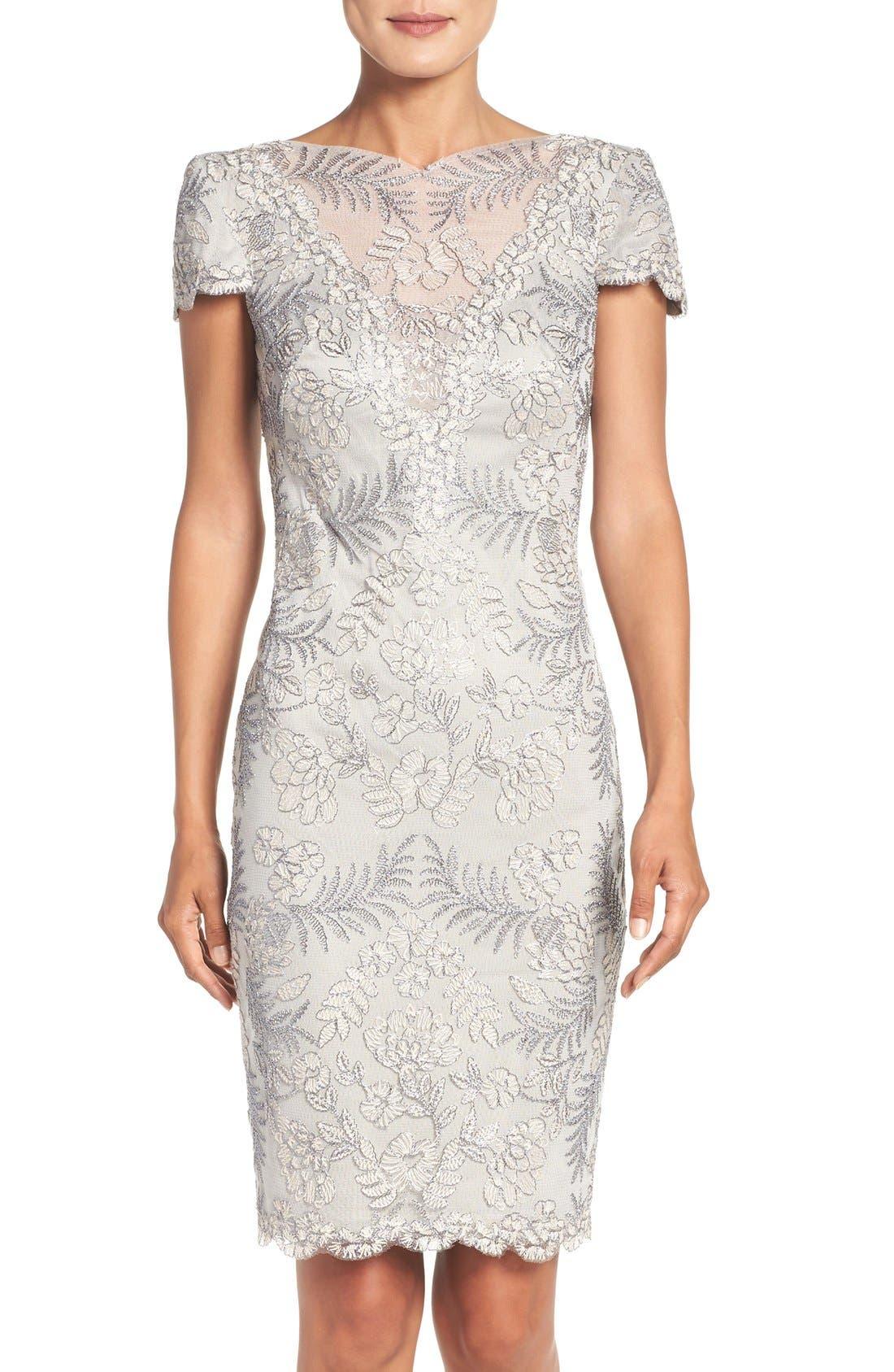 Lace Sheath Dress,                             Alternate thumbnail 4, color,                             Light Pearl