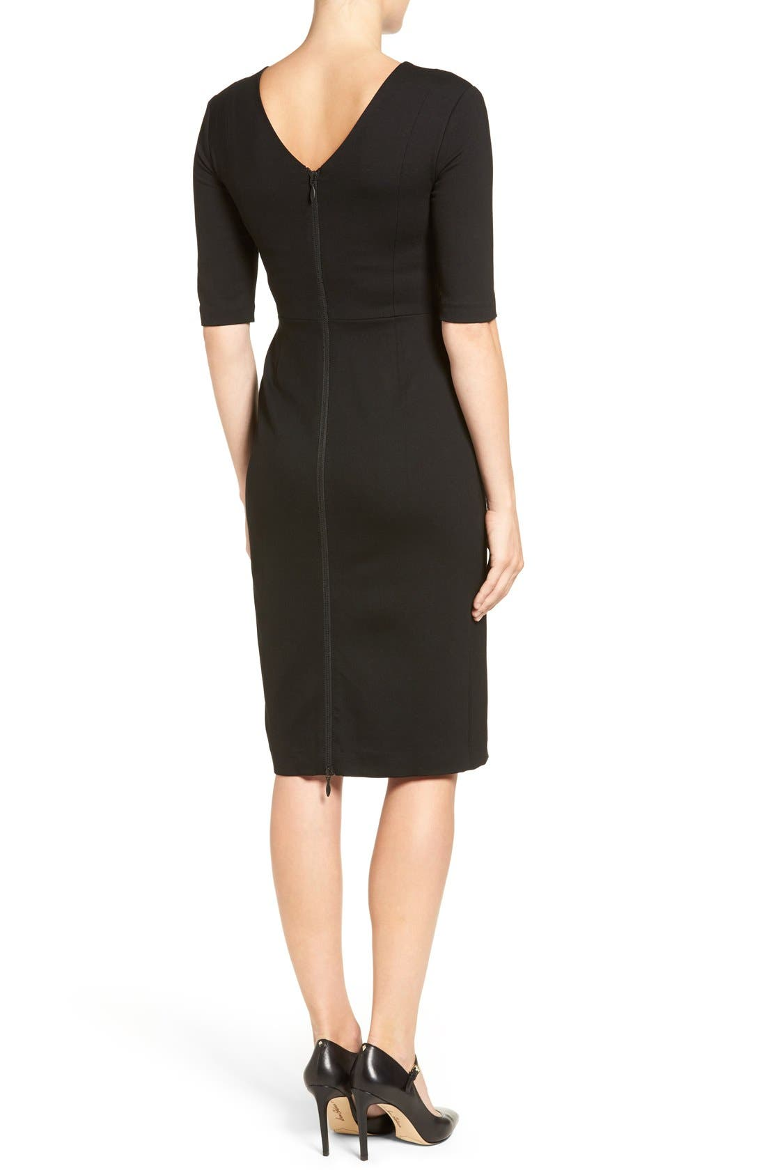 Alternate Image 2  - Halogen® Cutout Shoulder Sheath Dress (Regular & Petite)