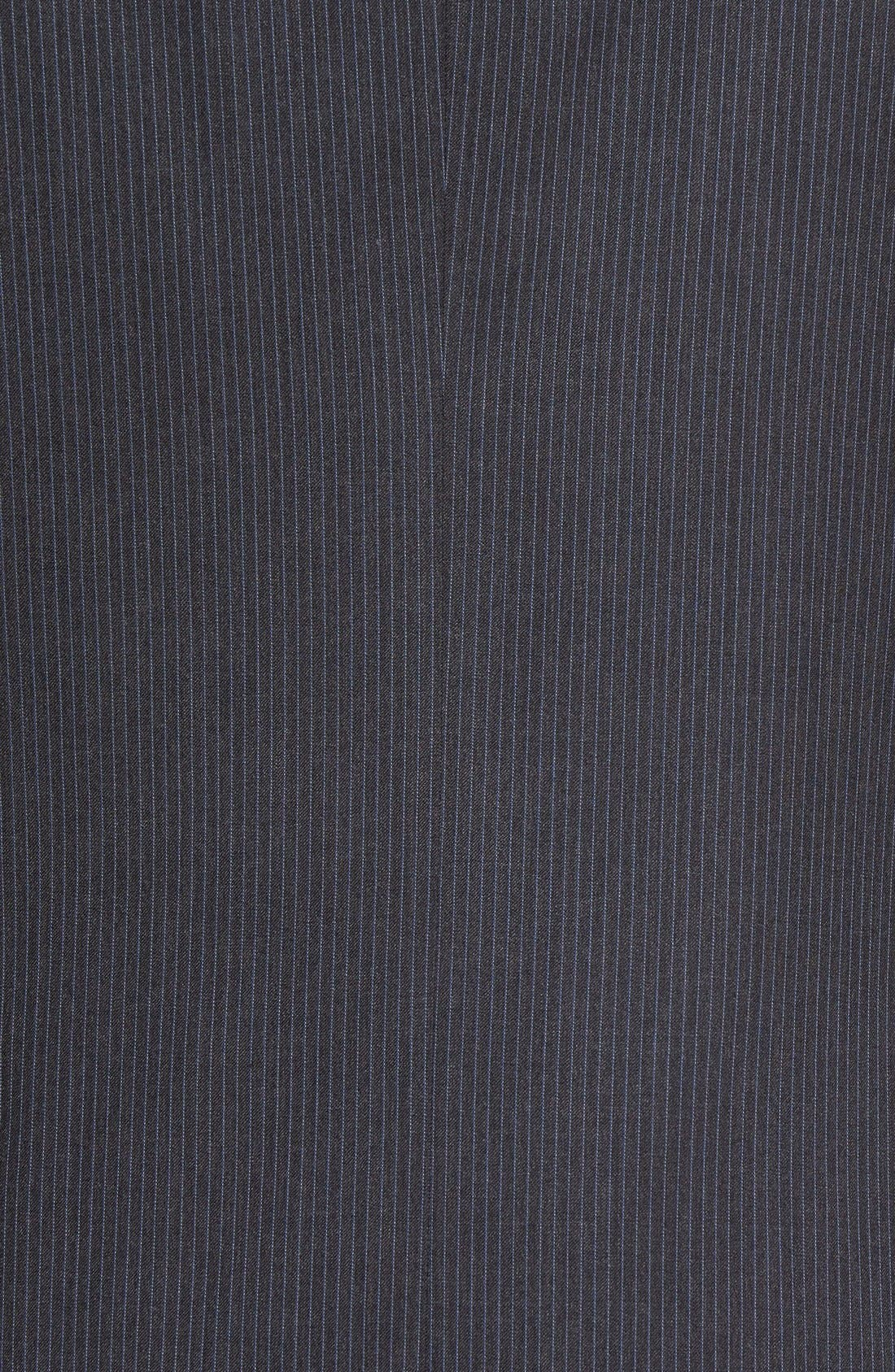 Trim Fit Stripe Wool Suit,                             Alternate thumbnail 7, color,                             Dark Grey
