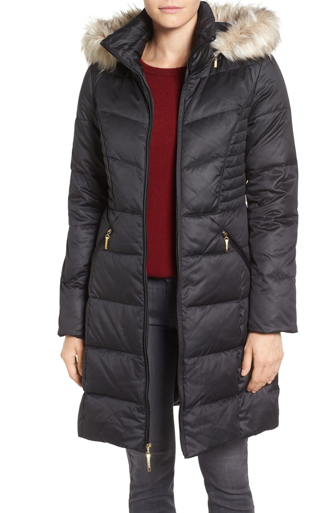Ellen Tracy Faux Fur Trim Matte Satin Down Coat (Regular & Petite)