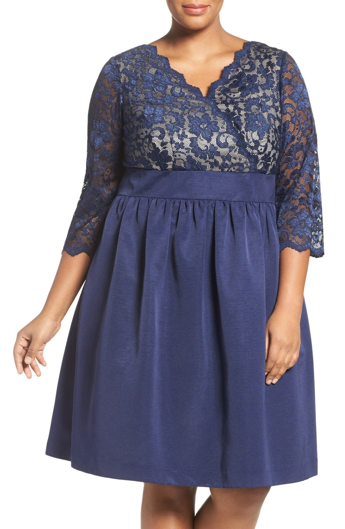 Main Image - Eliza J Lace & Faille Dress (Plus Size)