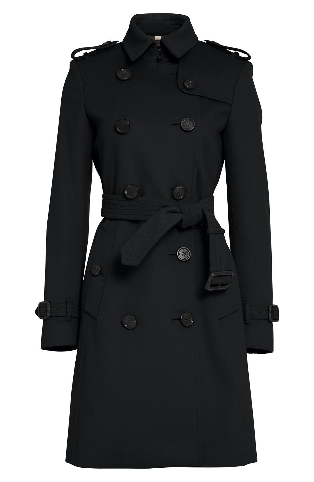 Kensington Double Breasted Wool & Cashmere Trench Coat,                             Alternate thumbnail 4, color,                             Black