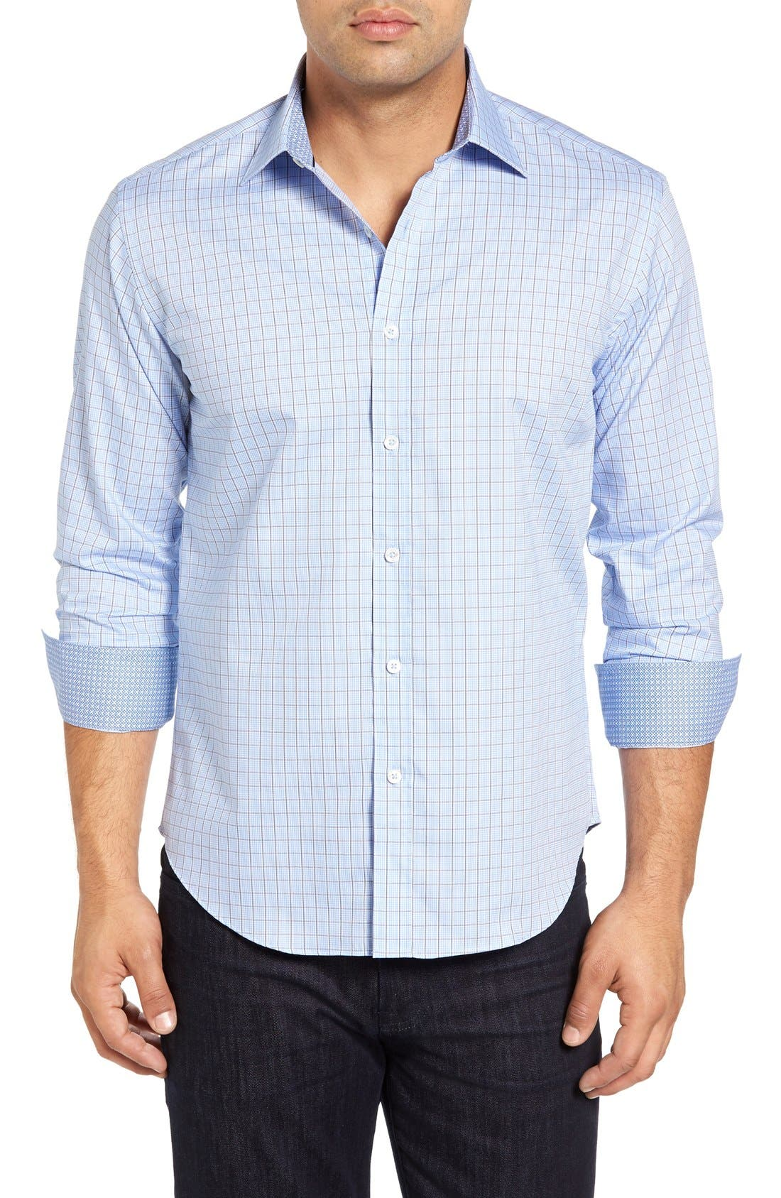 Shaped Fit Tattersall Sport Shirt,                         Main,                         color, Sky