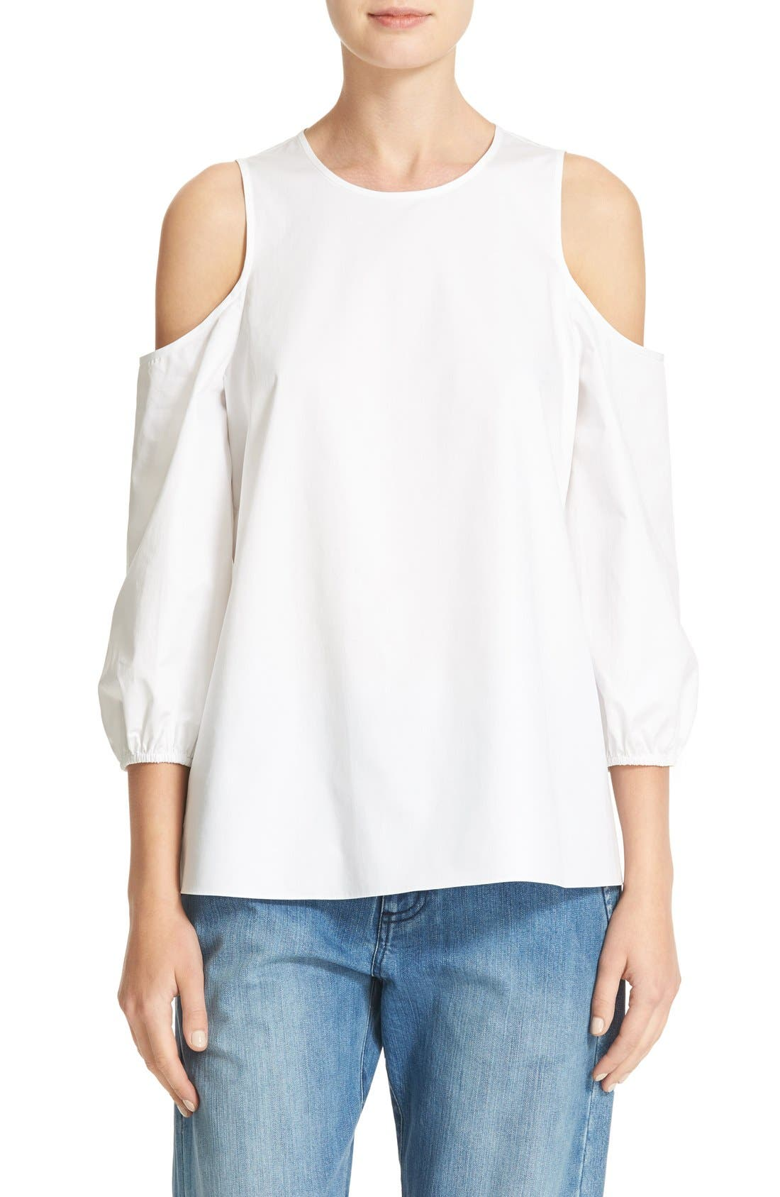 Satin Poplin Cold Shoulder Top,                             Main thumbnail 1, color,                             White