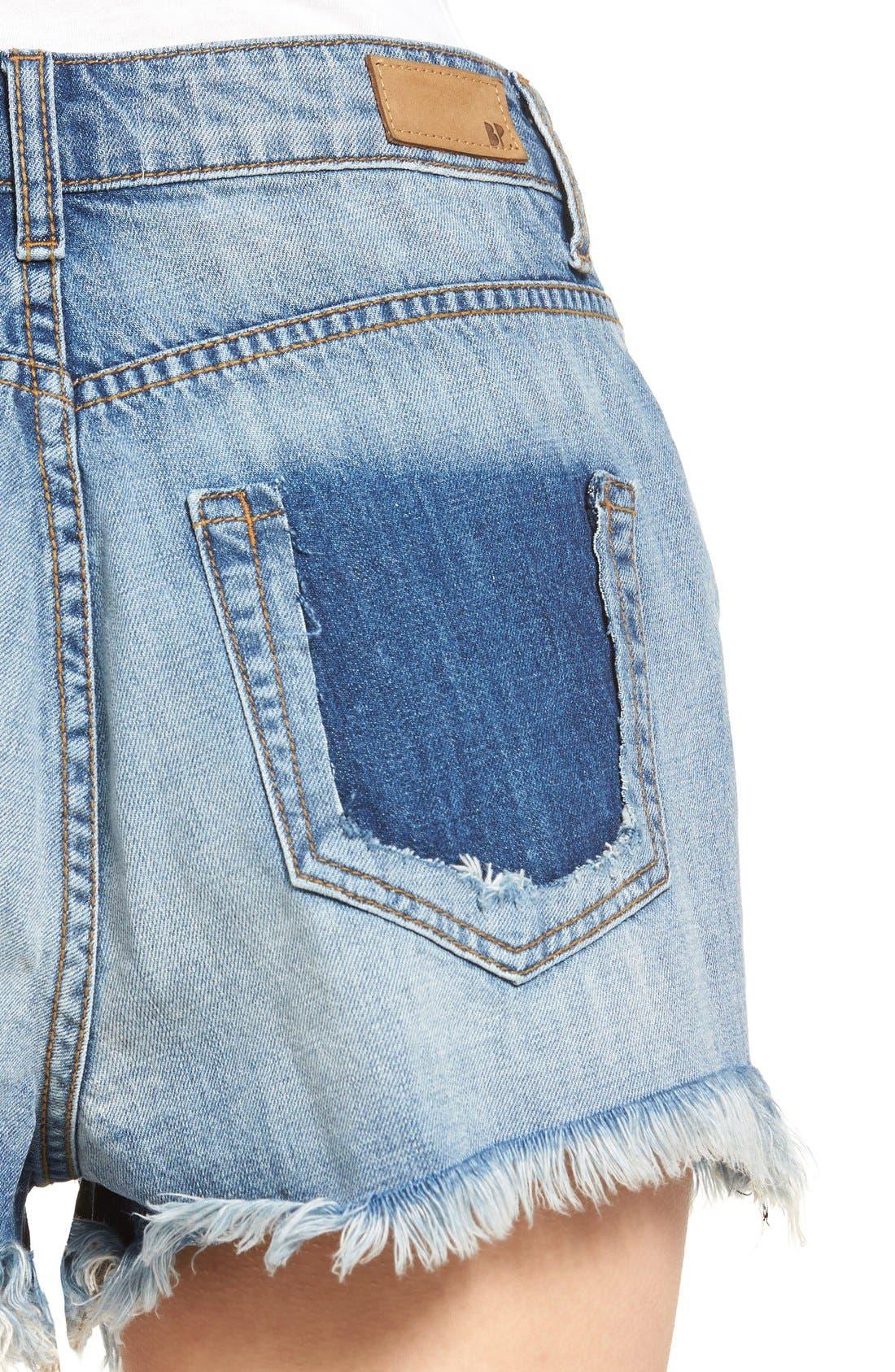 Alternate Image 5  - Sun & Shadow Ripped High Rise Denim Shorts (Light Nineties Indigo)