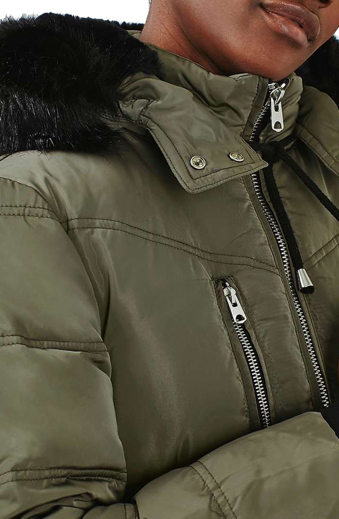 Jasper Faux Fur Trim Puffer Parka,                             Alternate thumbnail 6, color,                             Olive