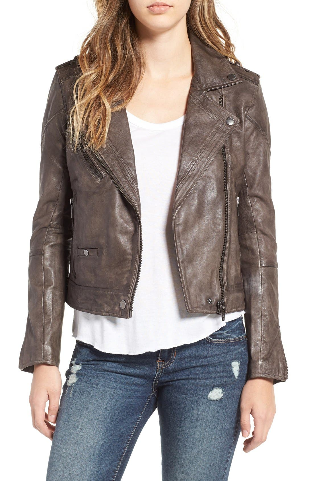 Main Image - BLANKNYC Genuine Leather Moto Jacket