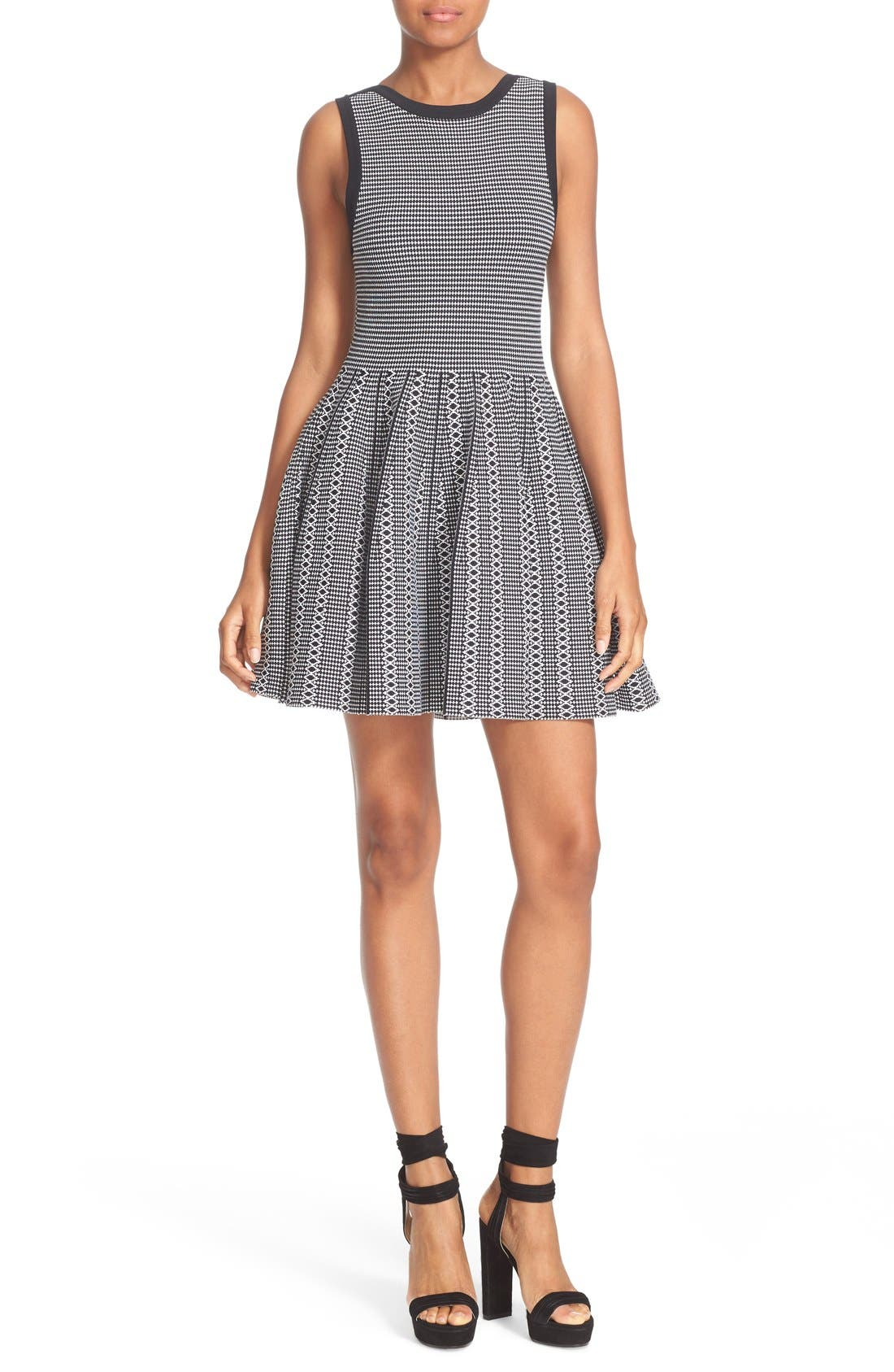 Alice + Olivia Kamilah Texture Stitch Fit & Flare Dress