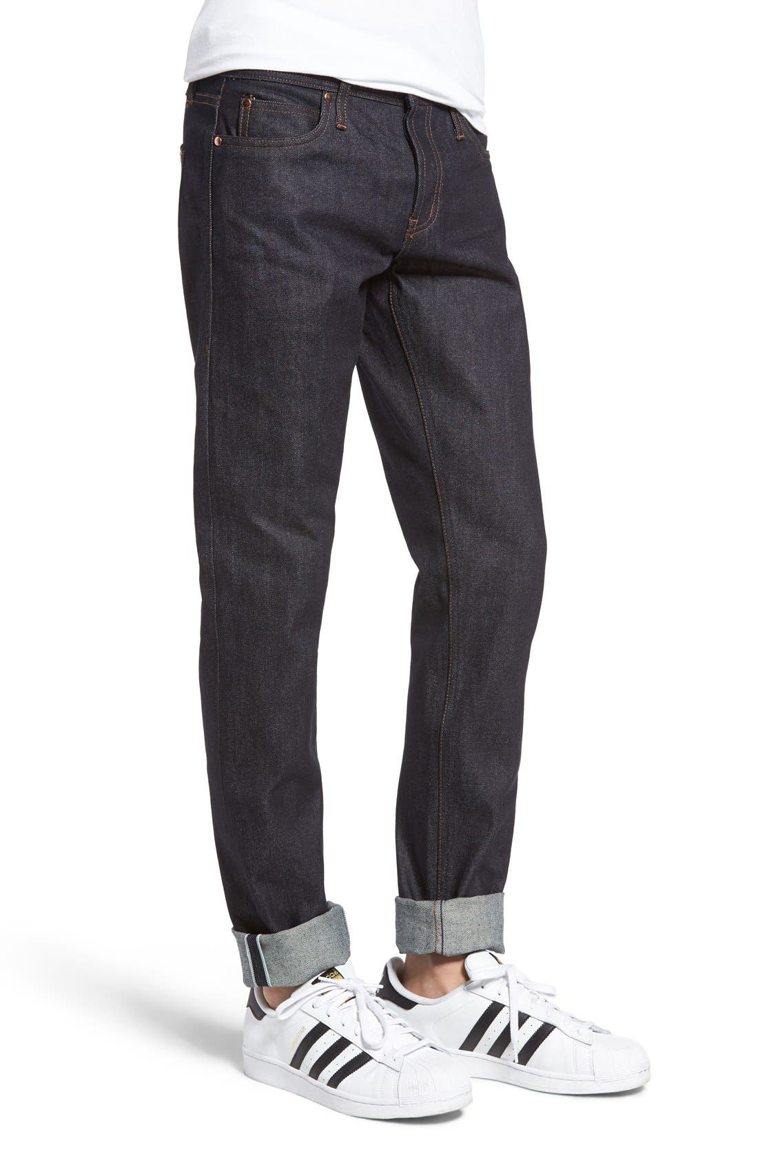 Alternate Image 3  - The Unbranded Brand UB401 Selvedge Skinny Fit Jeans