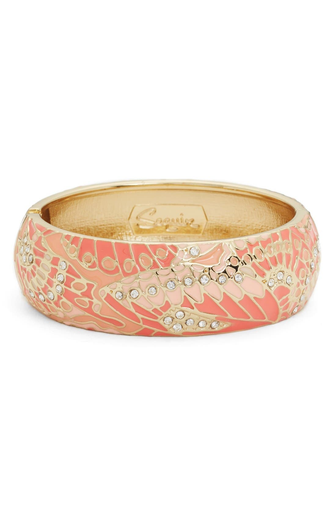 SEQUIN Mariposa Wide Bangle in Coral