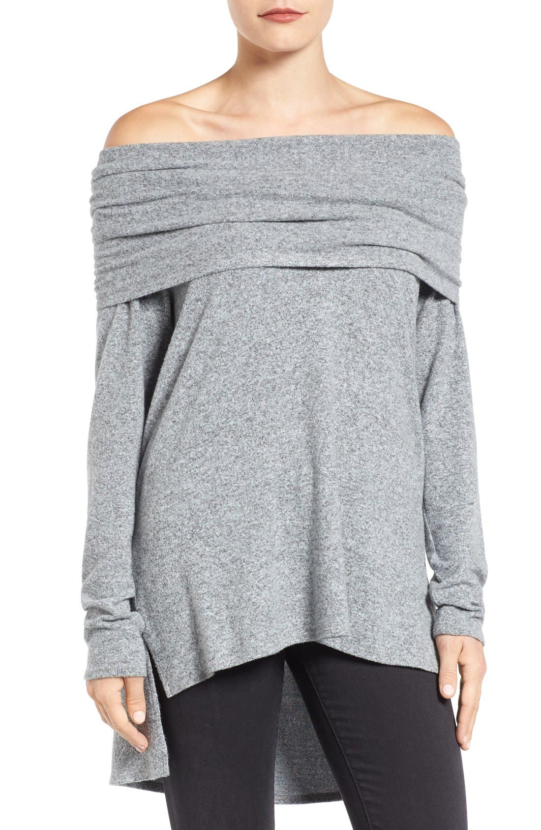 Cozy Convertible Neckline Tunic,                         Main,                         color, Ivory/ Heather Grey