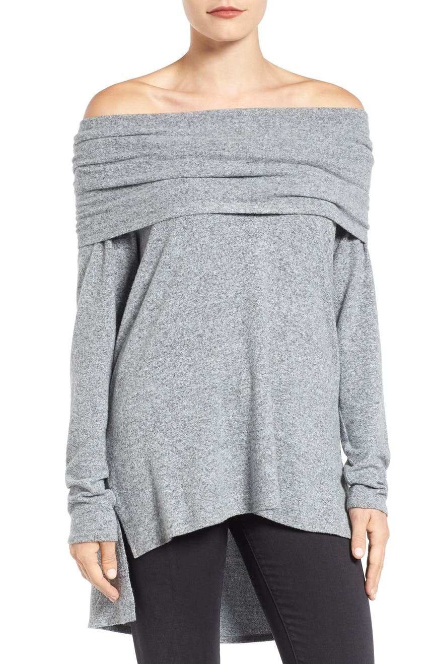 Gibson Convertible Neckline Cozy Fleece Tunic (Regular & Petite ...
