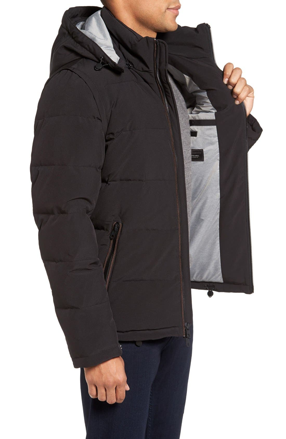 Convertible Down & Feather Puffer Jacket,                             Alternate thumbnail 3, color,                             Black