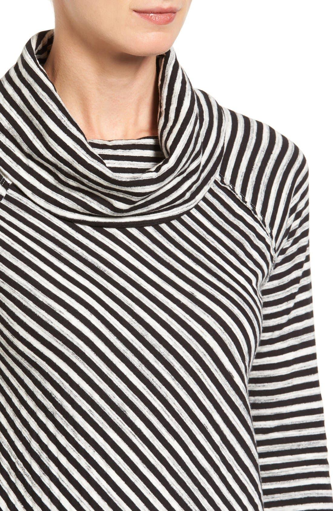Alternate Image 4  - Caslon® Stripe Cowl Neck Sweatshirt (Regular & Petite)