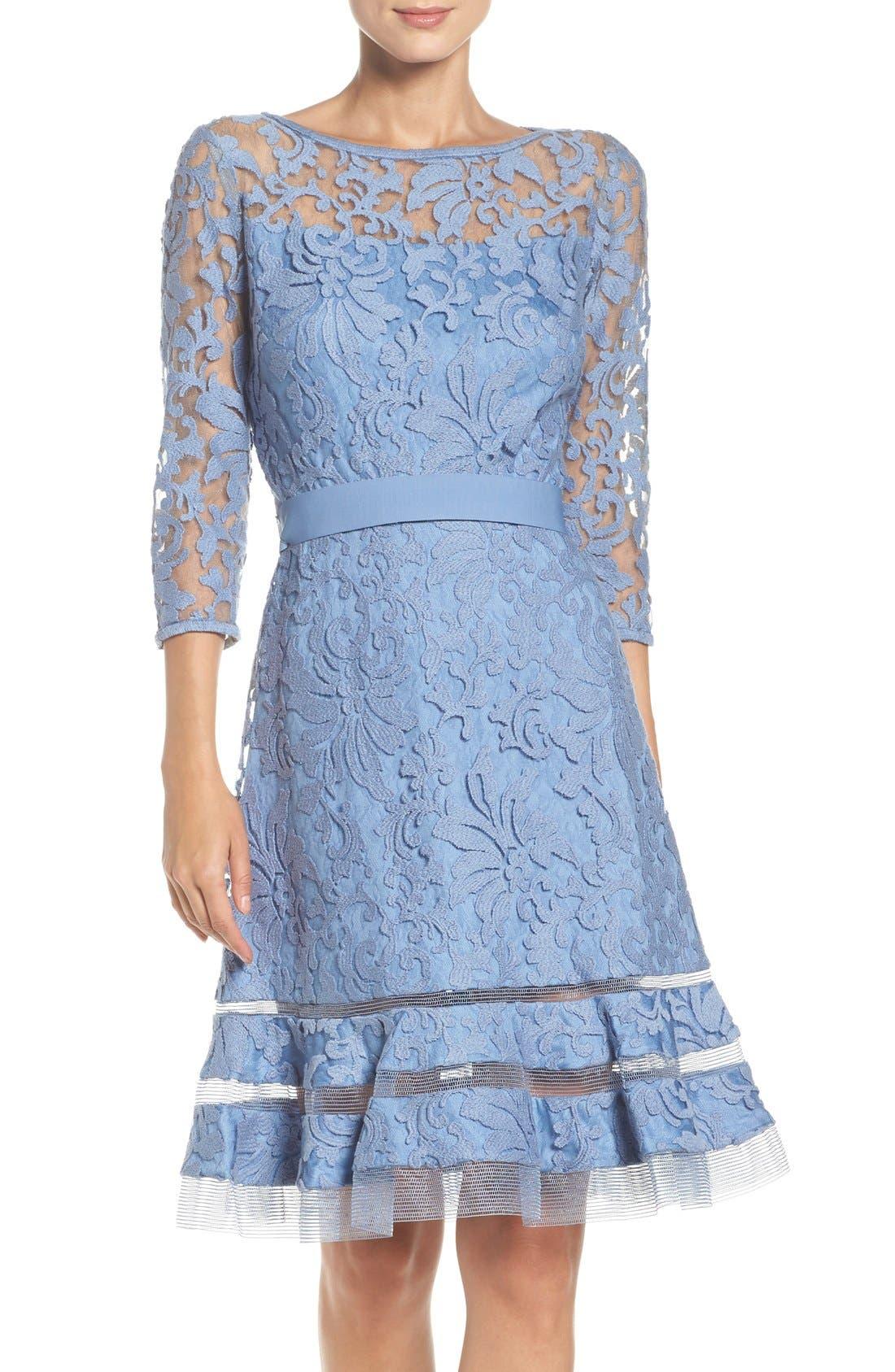 Lace Overlay Dress,                         Main,                         color, Bluestone