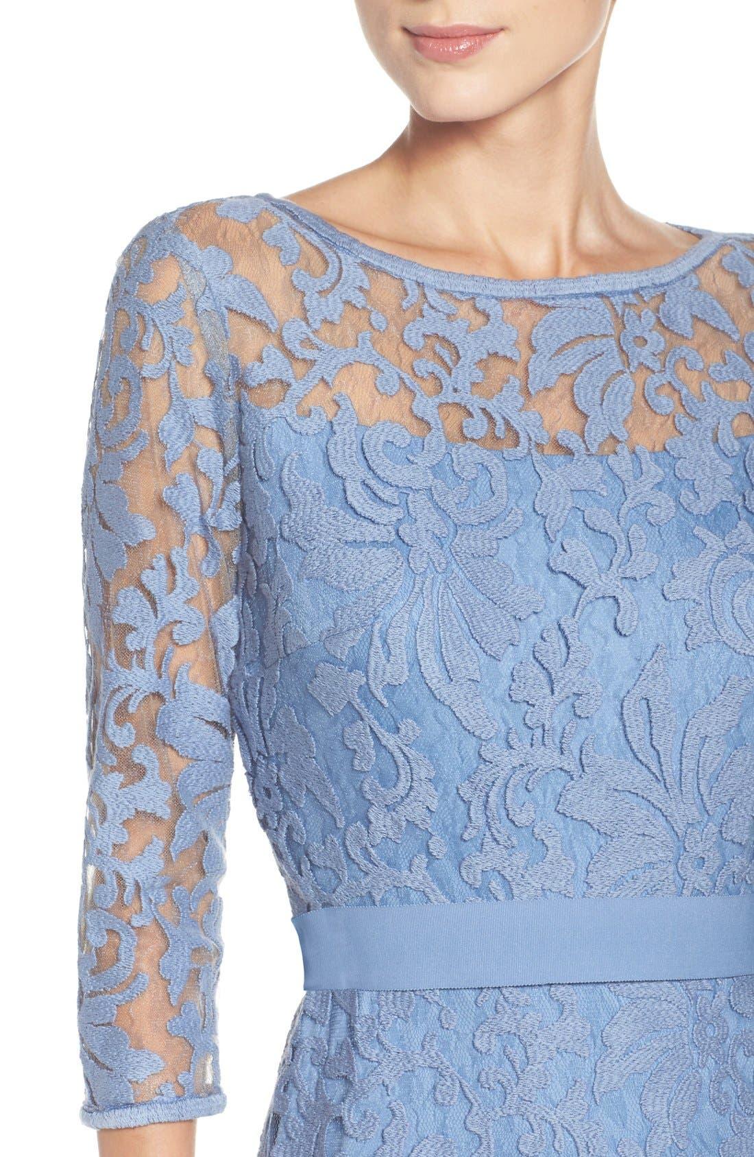 Lace Overlay Dress,                             Alternate thumbnail 6, color,                             Bluestone