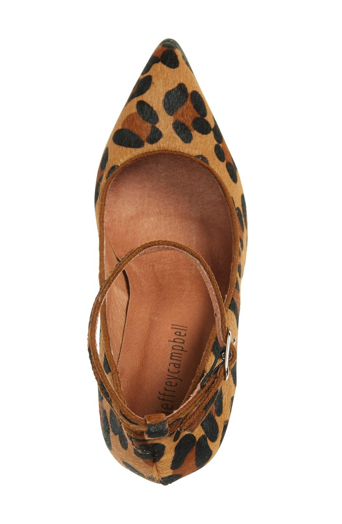 Lentine Ankle Strap Pump,                             Alternate thumbnail 3, color,                             Brown Leopard