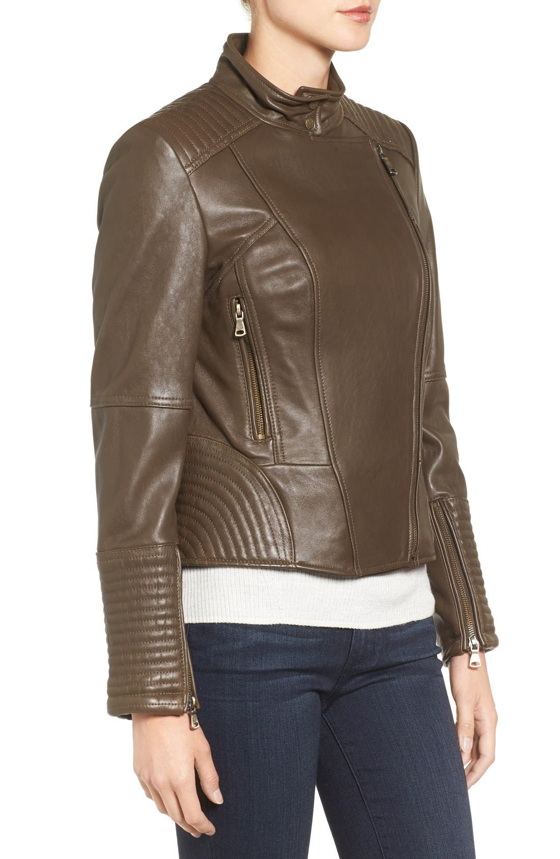 Alternate Image 3  - Vince Camuto Asymmetrical Leather Moto Jacket (Online Only)