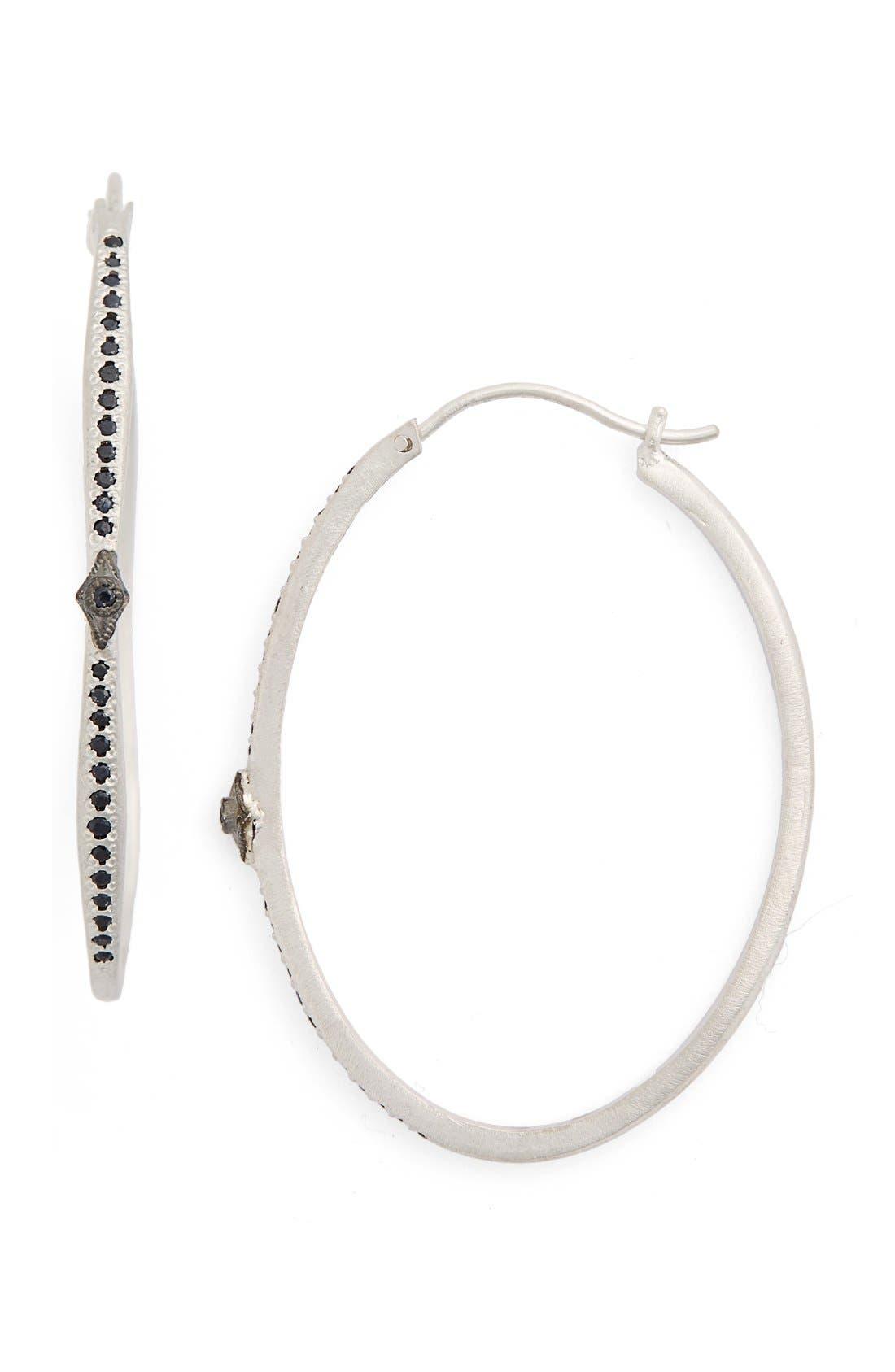 New World Black Sapphire Hoop Earrings,                             Main thumbnail 1, color,                             Silver
