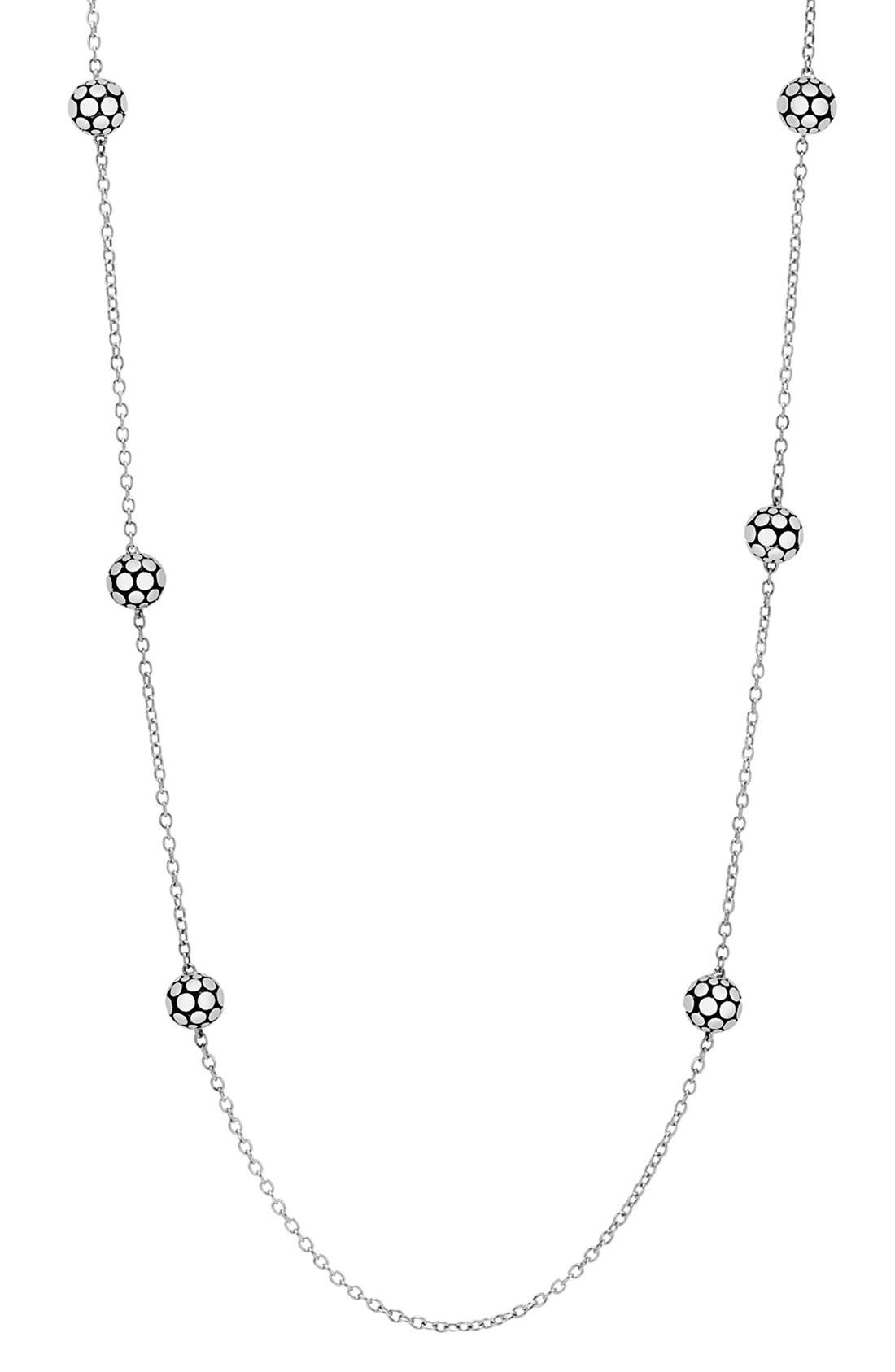 Dot Station Necklace,                             Main thumbnail 1, color,                             Silver