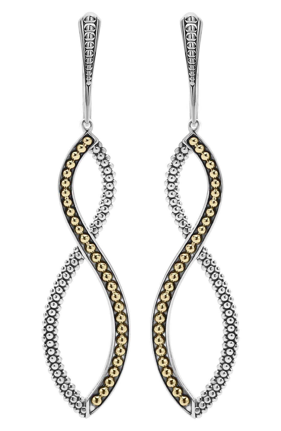Infinity Twist Drop Earrings,                             Main thumbnail 1, color,                             Silver/ Gold