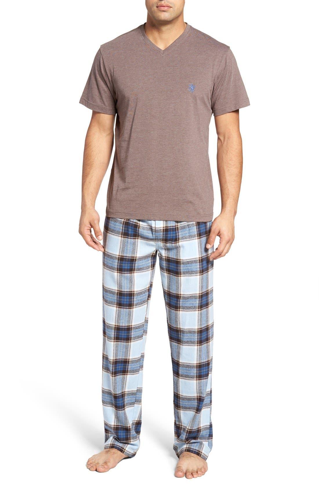 T-Shirt & Lounge Pants,                         Main,                         color, Brown Heather