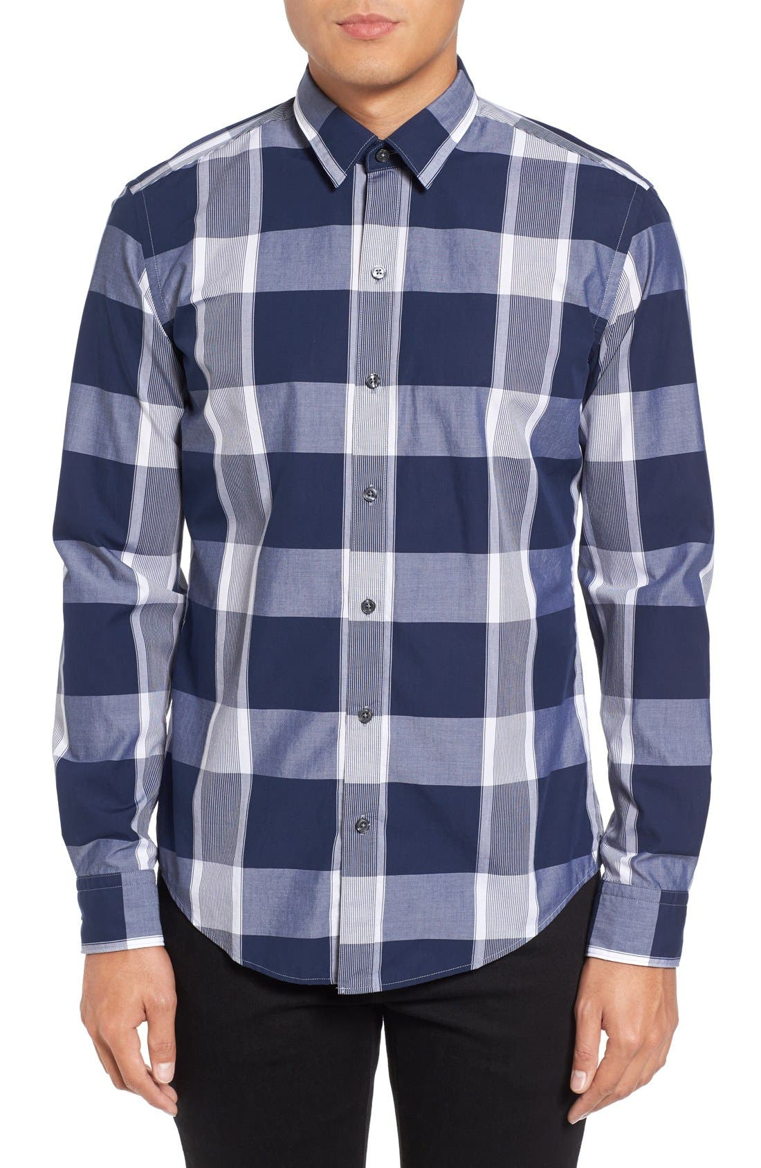 Alternate Image 1 Selected - BOSS Trim Fit Check Sport Shirt