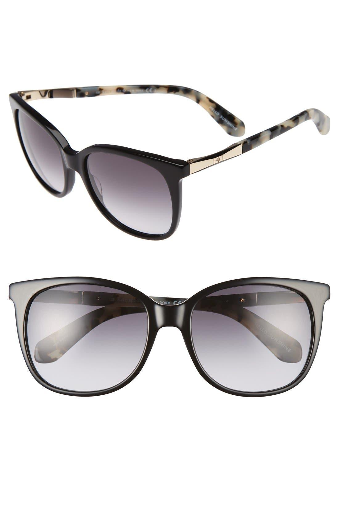 julieanna 54mm sunglasses,                         Main,                         color, Black/ Gold