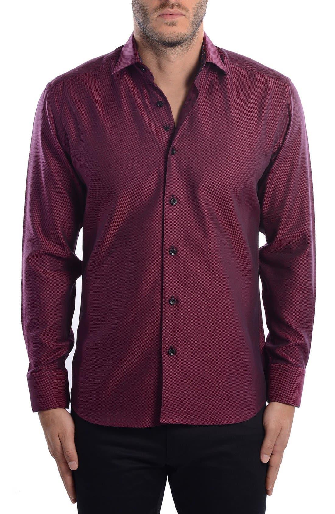 White Arrow Dobby Modern Fit Sport Shirt,                             Alternate thumbnail 3, color,                             Red