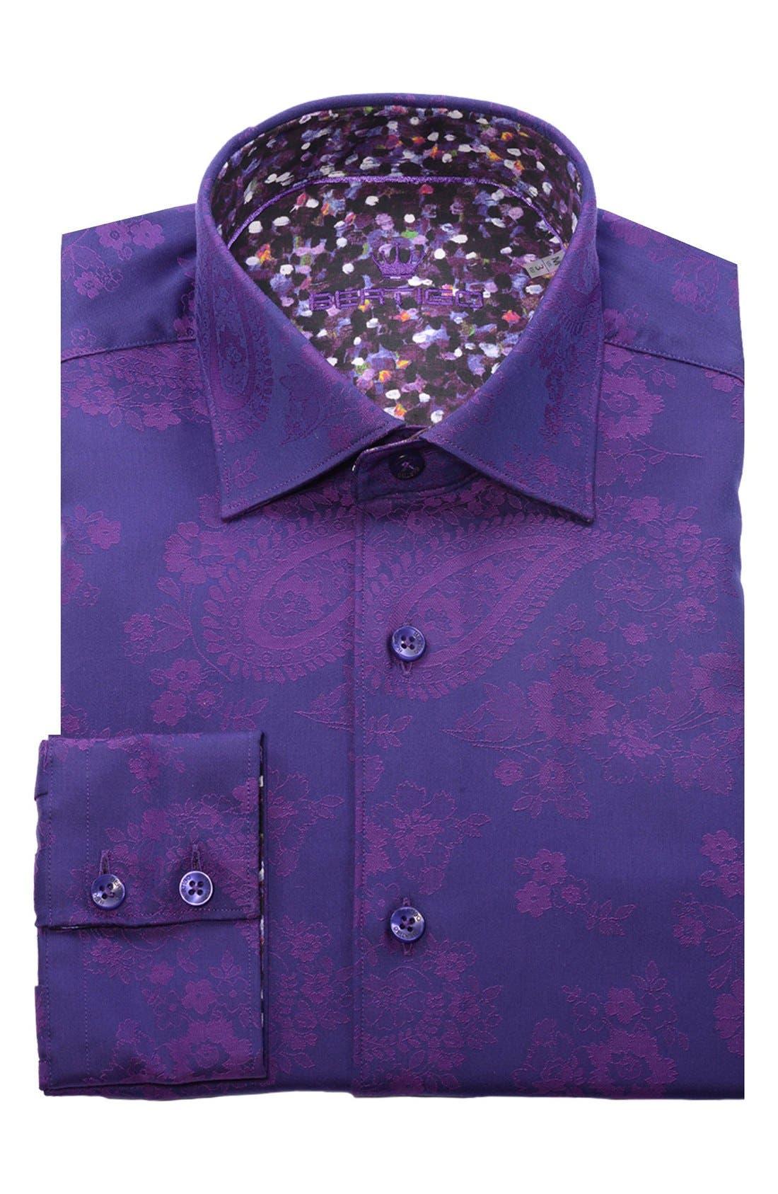 Paisley Modern Fit Sport Shirt,                             Alternate thumbnail 4, color,                             Purple